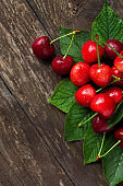 Cherries summer fruits with leaves freshly picked