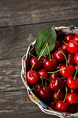basket with fresh sour cherries