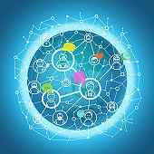 Social media network vector concept. Abstract communication scheme