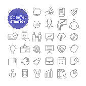 Outline icon set. Vector pictogram set. Strategy