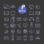 Different business icons vector collection. Web and mobile app outline icons set on dark background