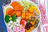 Vegan Buddha bowl - zucchini pasta, sweet potatoes, tofu