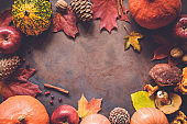Autumn food border with copy space for text