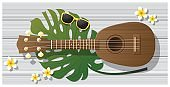 Hello summer background with ukulele on woodden board , vector , illustration