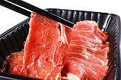 Fresh uncooked raw sukiyaki thin sliced meat