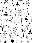 vector seamless winter pattern from doodle hand drawn winter trees and snowflakes