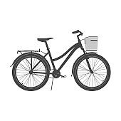 Lady City Bike Silhouette. Women's Comfort Bicycle Vector Illustration