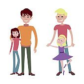 Father and daughter together character vector.