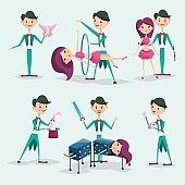 Cute magician character tricks vector illustration magic show cartoon man wizard circus