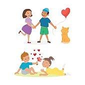 Couple in love vector set