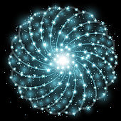 Shining stars with star dust, aqua color