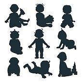 Baby kids silhouette vector illustration.