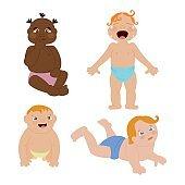 Baby kids emotions vector illustration.