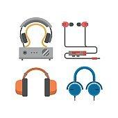 Headphones vector set.
