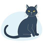 Cute black cat character funny animal domestic kitten pet feline portrait vector illustration