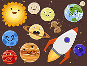 High quality solar system space planets flat universe astronomy galaxy science star vector illustration