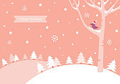 Happy Holidays greeting card,banner,frame.Winter simplicity landscape