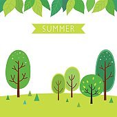 Summer trees with green leaves background