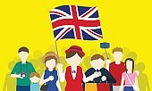 british tourists and tour guide, Inbound tourism, vector illustration