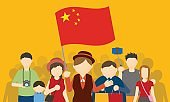 Chinese tourists and tour guide, Inbound tourism, vector illustration
