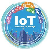 IoT(Internet of Things) concept illustration, smart city and big data