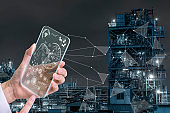 transparent futuristic smart phone and smart industry, technological abstract
