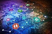 Internet of Things concept abstract image visual, smart city, smart grid, sensor network, environmental monitoring