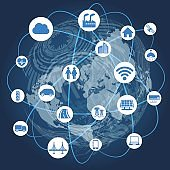 global network and internet of things, abstract illustration