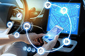 wireless communication between smart phone and car instrument panel. autonomous car.