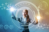 young business woman and futuristic graphical user interface concept, Internet of Things, Information Communication Technology, Heads up display, abstract mixed media