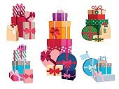 Array of gifts in different colorful packages with ribbons. Vector set of surprise boxes