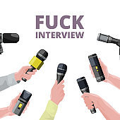 Illustrations for daily news. Hands holding microphones