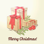 Merry Christmas Hand Drawn Greeting Card with Presents. Happy New Year Postcard with Gift Boxes