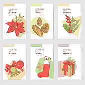 Holly Christmas Vintage Greeting Cards Templates