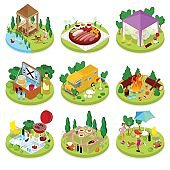 Isometric BBQ Picnic. Summer Holiday Camp. People in Park with Grilled Meat