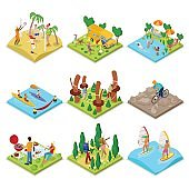 Isometric Outdoor Activity. Kayaking, Volleyball