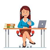 Operator woman of call center showing ok gesture