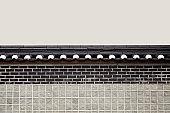 Korean traditional tile and brick wall image