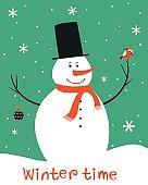 Christmas card with snowman and bird.