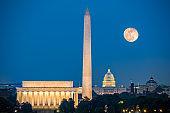 Supermoon above Washington DC