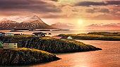 Stykkisholmur rocky fjords at sunset