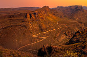 Spectacular sunset over rocky mountains in Gran Canaria, Spain