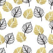 Gold autumn floral background. Glitter textured seamless pattern with fall golden and black leaf. Vector illustration