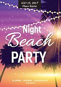 Summer Night Beach Party Poster. Tropical Natural Background  w