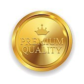 Premium Quality Golden Medal Icon Seal  Sign Isolated on White