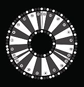 Wheel of Fortune, Game Jackpot on Black Background. Vector Illus
