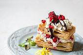 Millefeuille dessert with raspberry and chocolate