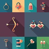Love and feelings set of flat square icons with long shadows.