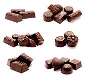 Collection of photos assortment of chocolate candies sweets isolated