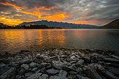 Sunrise at lake Wakatipu,New Zealand